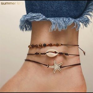 Star Shell Bead Anklet (set of 3)